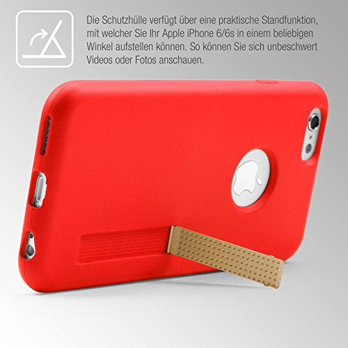 Urcover® Apple iPhone 6 Plus / 6s Plus Handy Schutz-Hülle – Ultra Slim - [ Stand-Funktion ] Soft Back-Case mit Ständer | flexible federleichte TPU Silikonhülle Schutz-Cover Smartphone Zubehör Schale F Rot