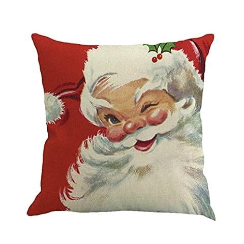 Vovotrade Weihnachts Baumwoll Leinen Sofa Auto Haupttaillen Kissen Abdeckungs Wurf KissenKasten (C)