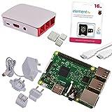 Raspberry Pi 3 Official Starter Kit White, con Cargador Oficial, Caja Oficial, microSD Oficial de 16GB con NOOBS, Cable HDMI y disipadores