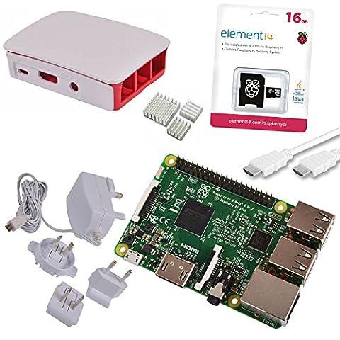 Raspberry Pi 3 Official Starter Kit White avec Chargeur Officiel, Boitier Officiel, câble HDMI, Dissipateurs et microSD Officiel 16 Go avec
