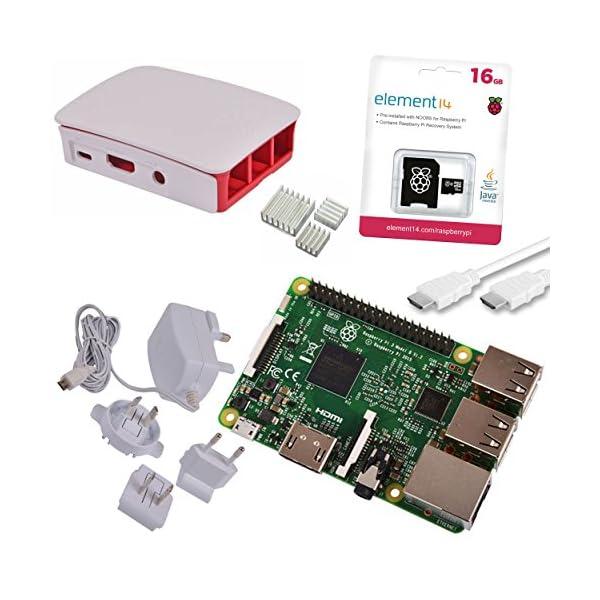 51 xBwTTDcL. SS600  - Melopero Raspberry Pi 3 Official Starter Kit White, con Cargador Oficial, Caja Oficial, microSD Oficial de 16GB con Noobs, Cable HDMI y disipadores