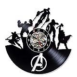 Dwthh 1 Pieza De Superhéroe El Vengador Capitán América Reloj De Pared De Vinilo Marvel Guerra