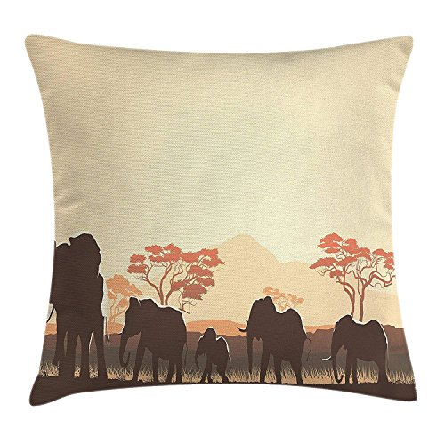 Zhengzho Funda de cojín Almohada África Animales Salvajes Safari Animales Grandes Elefantes...