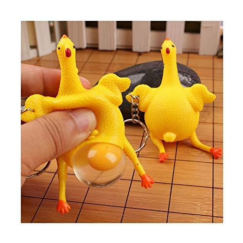 Huhn-Schlüsselanhänger mit Eiablage, Clode® Funny Squishy Squeeze Toys Huhn und Eier Schlüsselanhänger Ornamente Stressabbau