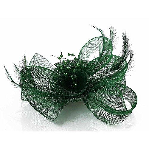 Trend Star Frauen Hochzeit Partei Neue Blumen Und Federn Fascinator Damen Haarspangen (Grün-blumen-stirnband)