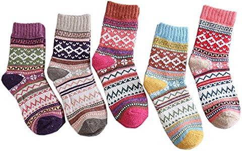 DLinSM 5 Paires Chaussettes Femme Hiver Chaussettes Femme Fantaisie Chaude Chaussettes Laine Tissé Cachemire (2)