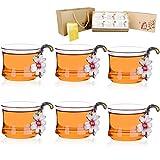 Glas Tee Tasse Tee-Set Chinesischen Stil Handgefertigte Moderne Kung Fu Emaille Farbe Blume Teetasse Rose Daisy Aprikose Blume (Olive Daisy Klein 6er Pack)