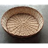 Indrani Collection Bamboo And Cane Round Basket (33cm, Brown, PCN_11)