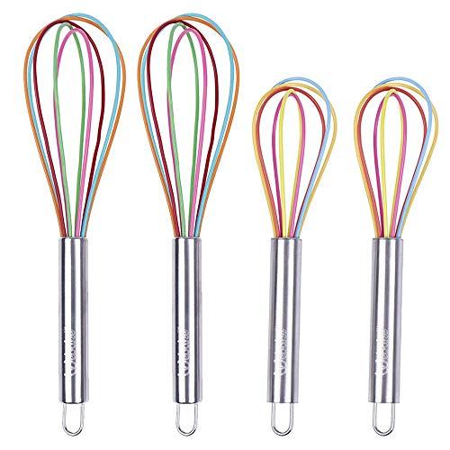webake Schneebesen Silikon Set Ballonschneebesen aus Silikon und Edelstahl, Rührbesen für Kochen und Backen in Bunten Farben Länge 25,5cm (Groß) 22cm (Klein) 4 Stück