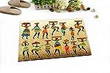 LB Danza Colorata da Ragazza Africana Raccolta Testa con Cestino Dorato Lavabile Tappeto da Bagno Tappetino da Pavimento Opaco Accessorio per la casa 60 x 40 cm