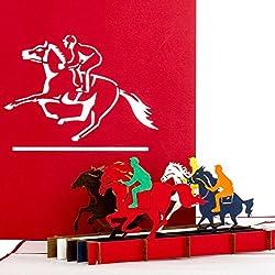 """Pop-Up Karte """"Pferde - Pferderennen"""" - 3D Pferdekarte Gutschein, Einladung zum Renntag, Geburtstagskarte für alle Pferdefans"""