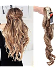 "24"" Queue de Cheval Postiche Extension de Cheveux (Attachée par Pince/Griffe) Ondulé - Claw on Ponytail Clip in Hair Extensions - Marron clair/Blond cendré (60cm-155g)"