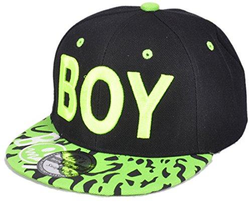 Belsen Kind Hip-Hop Leopard Boy Cap Baseball Kappe Hut (Fluoreszierende grün) Boy-cap
