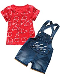 Mitlfuny Niños Recién Nacido Camisetas de Manga Corta Jeans Conjunto de Verano Ropa Botella Estampado Blusas para Bebé Niña Niño Tops + Mezclilla Pantalones Cortos de Ajustables Tirantes 0-3 Años