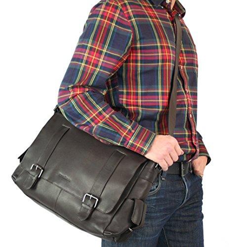 "FEYNSINN Messenger bag ASHTON - Umhängetasche XL fit für 15.4"""" - Laptoptasche - echt Leder grau schwarz"