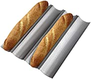 Tobepico Perforated Baguette Pan,Nonstick French Bread Baking Pan 4 Gutter Oven Toaster 4 slots Loaves Loaf Ba