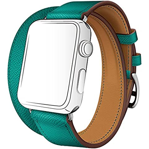 Double Tour Apple Watch Band, sunkong in vera pelle double tour Strap per Apple Watch & Sport & Edition