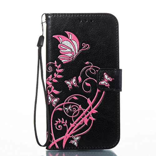 ISAKEN Kompatibel mit Galaxy S5 Hülle, PU Leder Brieftasche Geldbörse Wallet Case Handyhülle Tasche Schutzhülle mit Handschlaufe Standfunktion für Samsung Galaxy S5 / S5 Neo - Pink Blume Schwarz Matt Faux-leder