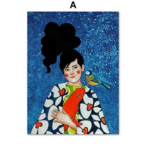 XWArtpic Abstrakte Mode Vintage Blase Mädchen Make-up Modell Wandkunst Leinwand Malerei Nordic Poster Und Drucke Wandbilder Für schönheitssalon Shop Wohnkultur 60 * 80 cm (Mode Fifties Mädchen Für)
