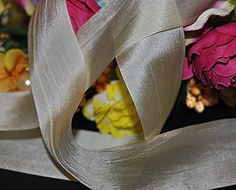 Ribbon Queen Pure Habotai Elfenbeinfarben Hand gefärbt 100% Pure Seide