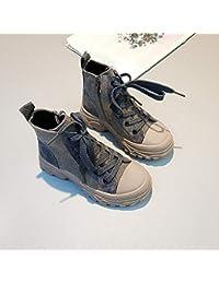 XL_etxiezi Botas Vintage para niñas, Zapatos Casuales de caña Alta para niñas, Gris_37