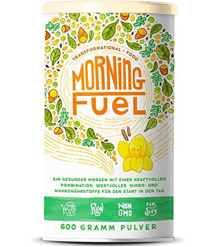 Morning Fuel | Frühstücksmischung mit Mikro- & Makronährstoffen | Quinoa, Chia, MCT Öl, Erbsenprotein, Hafer, Algen, Alfalfa, Spinat, Maca | Vitamine B6 + B12 | 600g Pulver mit Vanille (C Spinat Und)