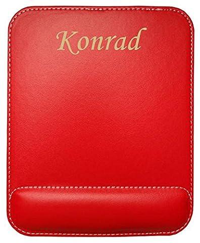 Kundenspezifischer gravierter Mauspad aus Kunstleder mit Namen Konrad (Vorname/Zuname/Spitzname)