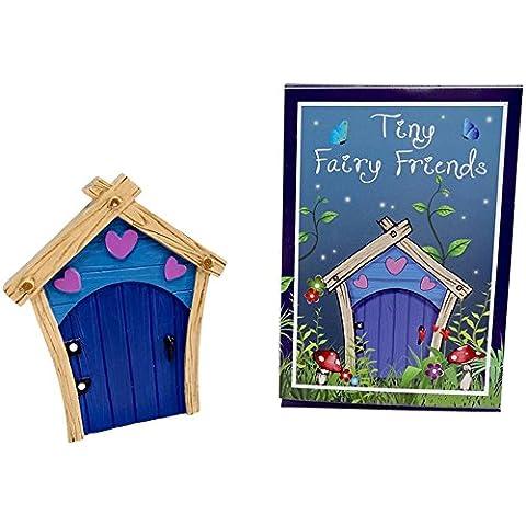 Blue Resin Fairy Door with Hearts Cute