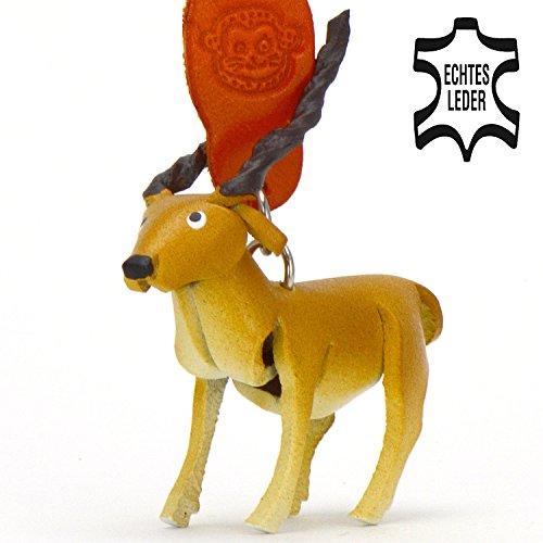 Antilopen Imke - Deko Schlüsselanhänger Figur aus Leder in der Kategorie ganz Kopf / Schädel von Monkimau in braun - Dein bester Freund. Immer dabei! - 5x2x4cm LxBxH klein, jeweils 1 Stück