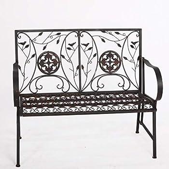 Banc de jardin banquette shabby chic patio meuble metal fer ...