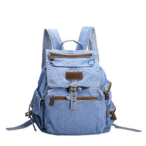 Imagen de genda 2archer bolsos del morral de las muchachas bolso del recorrido del morral del campus de los pantalones vaqueros azul