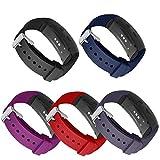 Compatible Bandes Gear Fit2 Pro / Fit2, Kmasic Remplacement en Silicone Bracelet de pour Samsung Gear Fit 2 & 2 Pro Tracker (Paquet de 5-Rouge\Violet\Noir\Gris\Bleu)