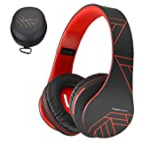 PowerLocus Bluetooth Over-Ear Headphones, Wireless Stereo Foldable Headphones Wireless Wired Headsets Built-in Mic, Micro SD/TF, FM iPhone/Samsung/iPad/PC (Black/Red)