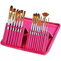 Pennello Set ezykoo 15pcs pennelli Kit professionale con Hot Pink Custodia protettiva per acquerelli, Gouache, acrilico e pittura a olio per artisti, per bambini e studenti