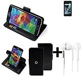 TOP SET für Archos Sense 47X 360° Schutz Hülle Smartphone Tasche schwarz + Kopfhörer Wallet case Flipcase Flipstyle Cover Tasche für Archos Sense 47X - K-S-Trade