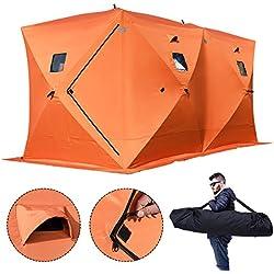 Chaneau 2/3/4/8 Personne Tente de Pêche Abri de Plage Tente de Bivouac de Pêche 300d Oxford Tissu Portable Résistant au Froid Tente de Camping Hiver Outdoor (360 * 180 * 205CM)