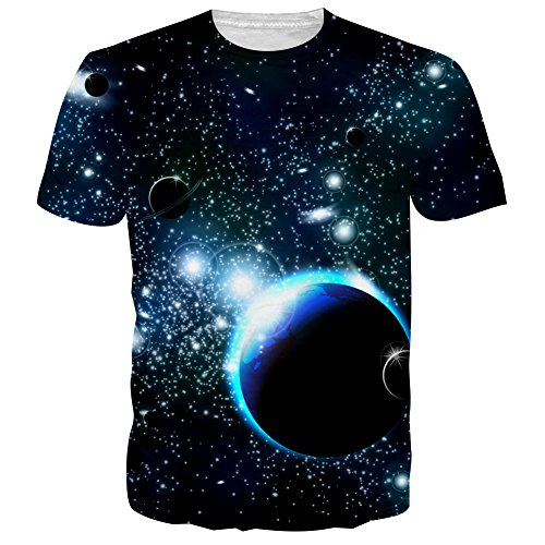 Bfustyle Hip Hop Style Unsex 3D-Druck-Tees Wolf-T-Shirt Paar-T-Shirts Galaxis 4