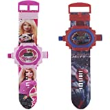 Combo Barbie And Spiderman Projector Watch For Kids (24 Images) Pack Of 2
