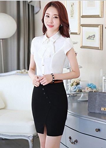 BININBOX Damen Elegant OL Business Bluse Knoten Ausschnitt lässig Rüschen Hemd Slim Fit Tops Oberteil Weiß-Kurzarm