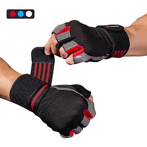 WACCET Fitness Handschuhe, Gewichtheben Handschuhe mit Handgelenkstütze, Trainingshandschuhe Damen Herren für Kraftsport, Bodybuilding, Fitnesstraining, Crossfit Training und Radsportan (Rot, L)