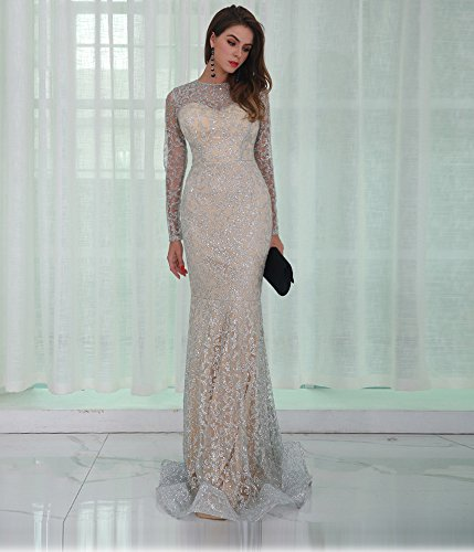 Missord Women's O Neck Long Sleeve Pattern Glitter Slim Maxi Elegant Dress FT8581 Silver S