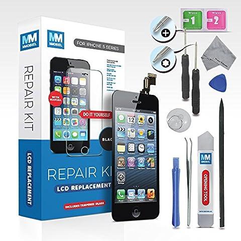 LCD für iPhone 5S Schwarz Display Front Glas Touchscreen Ersatz Digitizer Premium komplett Set mit Tool Kit + Screen Protector (Schutzglas) und einfacher Profi Anleitung