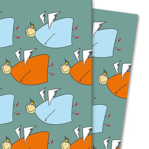 Weihnachts Geschenkpapier mit fröhlichem Engel Muster, grün grau (4 Bögen, 32 x 48 cm) Dekorpapier, Papier zum Einpacken, für tolle Geschenk Verpackung und Überraschungen