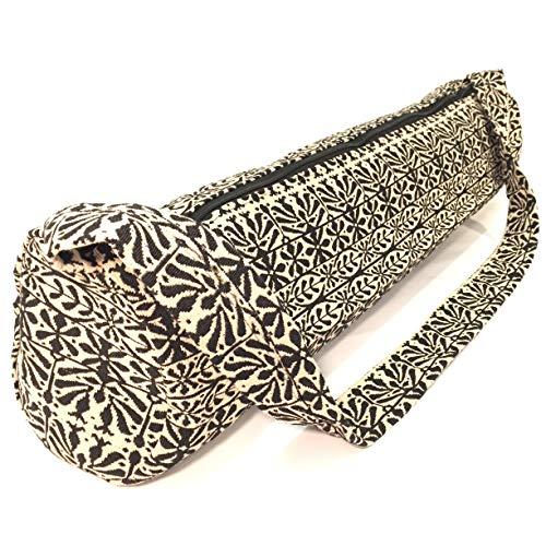 YOGALAND Yogatasche für Matte - handgefertigt 100% Baumwolle - umweltfreundlich und Jute - Yoga-Tasche mit Gurt und Reißverschluss - Original Indien Tasche für Matratzen (Matte) (Beige/Schwarz)