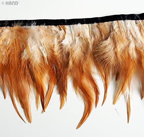 DU12naturale marrone e bianco gallo piuma Fringe 4,5pollici/w- appx 2metri