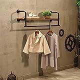 Everyday Home Vintage Eisen Kleiderständer massivem Holz Haken Wand Rack Kombination multifunktionale Kleidung Rack geeignet für Wohnzimmer/Schlafzimmer / Studie/Garderobe (80 cm, 100 cm, 120 cm,