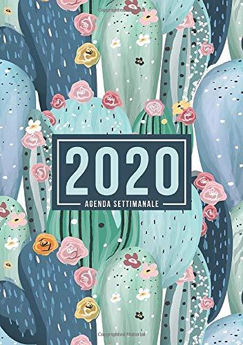 Agenda settimanale 2020: 1 gennaio 2020 al 31 dicembre 2020: Agenda settimanale e mensile, Organizer & Diario: Arte del cactus nei verdi 116-6