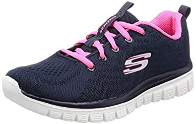 Skechers Damen Graceful-Get Connected Sneaker  39 EUBlau (Navy/Pink)