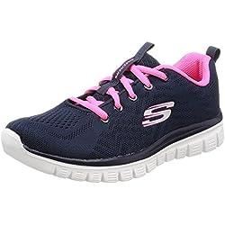 Skechers Graceful-Get Connected, Sneaker Donna, Blu (Navy/Hot Pink), 37.5 EU