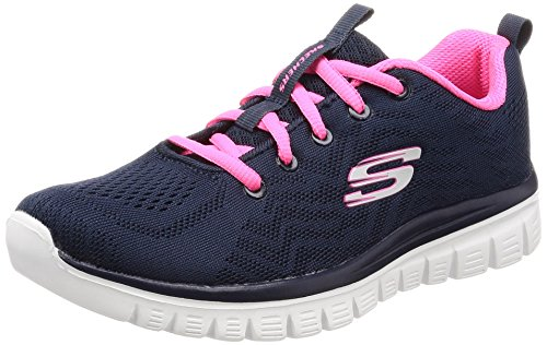 Skechers Women 12615 Low-top Trainers, Blue (Navyhot Pink), 3 Uk (36 Eu)
